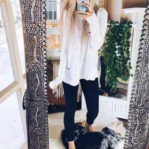 White Beaded Drawstring Hoodie Pullover